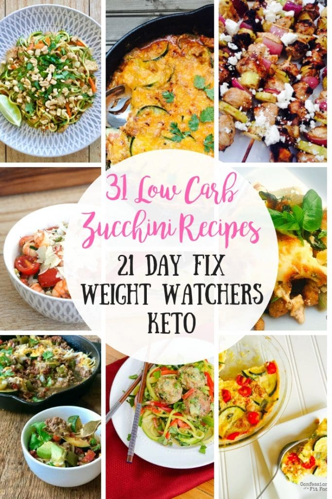 Is your zucchini growing like crazy?  Check out these Healthy, Low Carb Zucchini Recipes to put your crop to good use!  Perfect for the 21 Day Fix, 2B Mindset, and even Keto diets! #confessionsofafitfoodie #zucchinirecipes