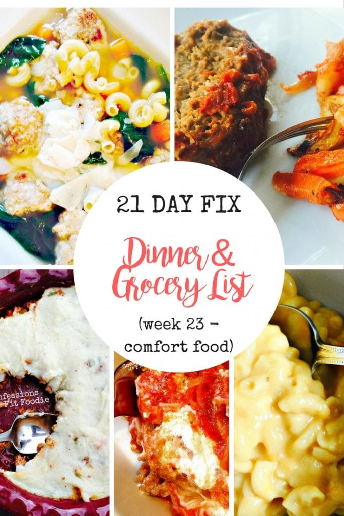 21 Day Fix Meal Plan & Grocery List   Confessions of a Fit Foodie