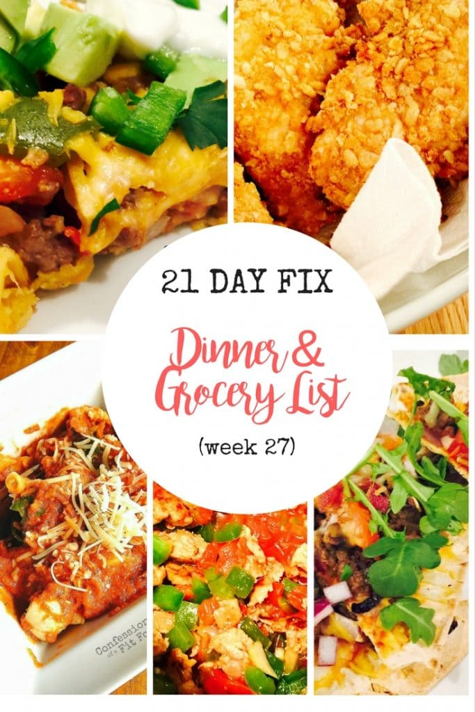 21 day fix meal plan grocery list week 27 confessions of a fit