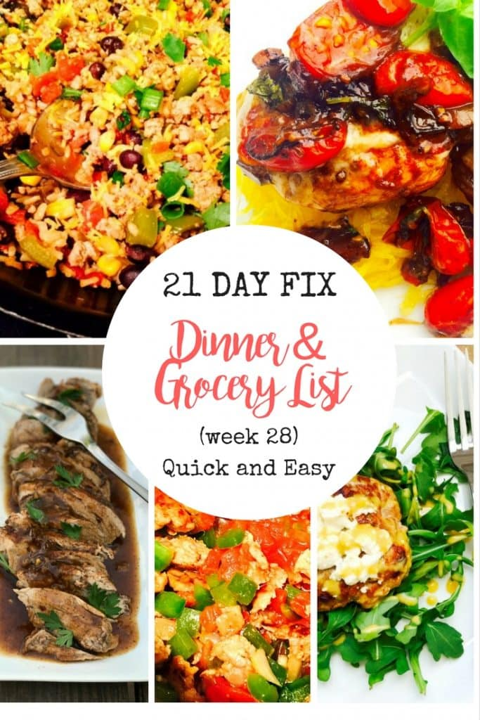 21 day fix meal plan grocery list week 28 quick and easy