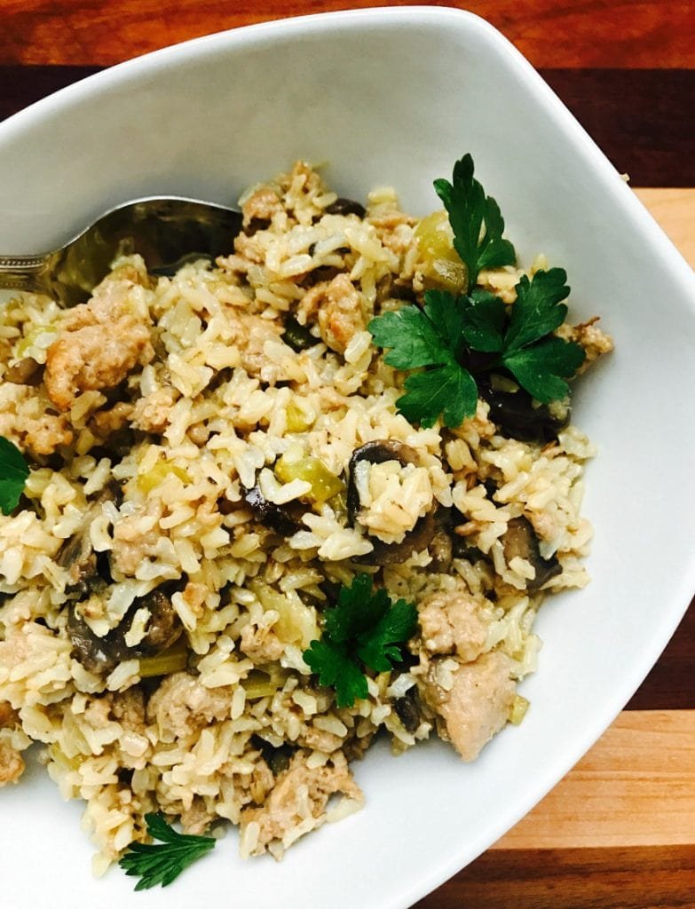 Instant Pot Brown Rice Stuffing | Confessions of a Fit Foodie