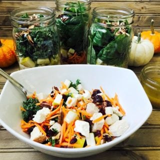 Fall Harvest Mason Jar Salads with Maple Cider Vinaigrette (21 Day Fix)