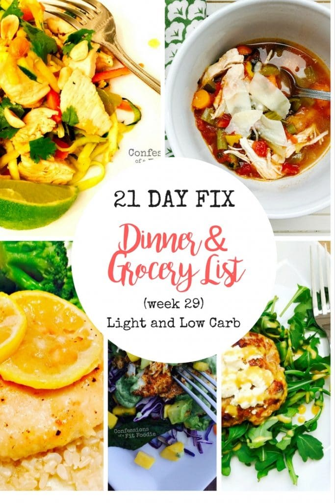 21 day fix meal plan grocery list week 29 light and low carb