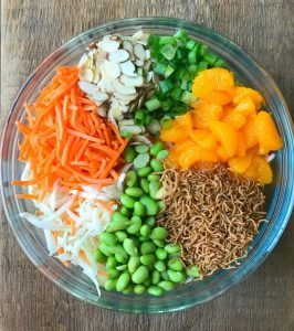 Salad with Cabbage, Carrots, Almond, Green Onions, and Mandarin Oranges