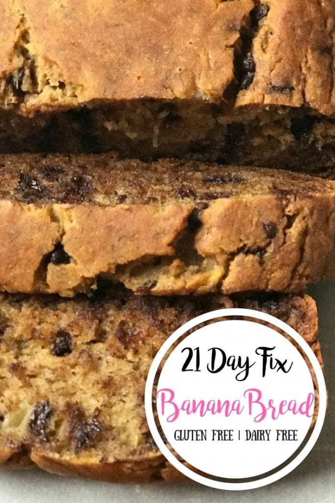 Overhead photo of sliced banana bread with white circle in the bottom right corner. In the circle is the text overlay- 21 Day Fix Banana Bread | Gluten Free | Dairy Free