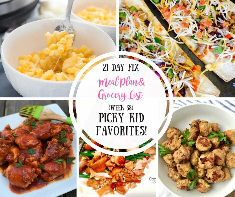 21 Day Fix Meal Plan & Grocery List {38} Picky Kid ...