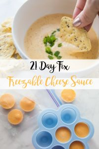 This delicious 21 Day Fix Freezable Cheese Sauce is the perfect thing to keep in your freezer for when the craving for cheese strikes! And using the silicone baby food mold, it's perfectly portioned for you already!
