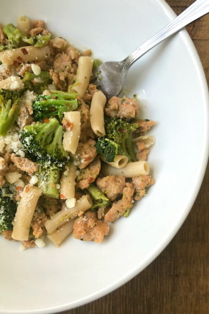 Bowl of Pasta with Broccoli and Chicken Sausage
