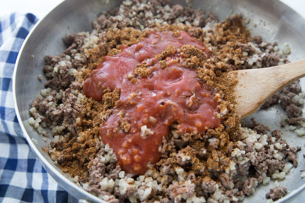 Taco Meat with Cauliflower and Ground Beef in a Pan