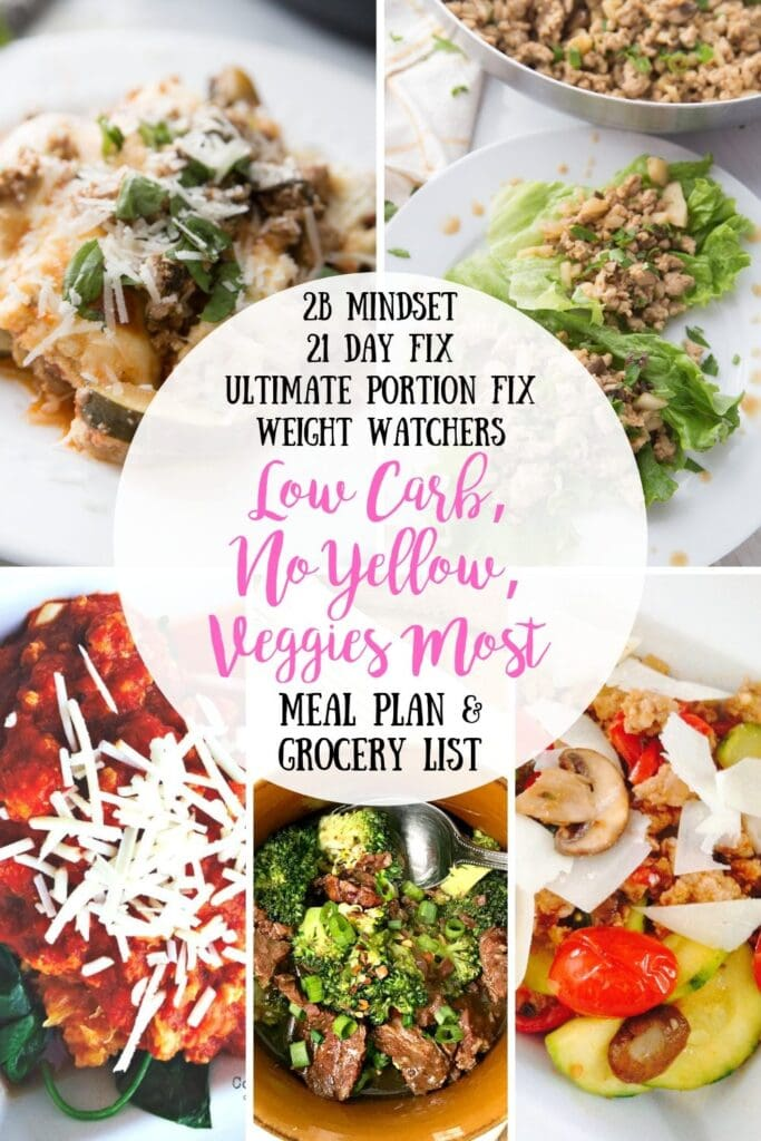 Picture collage of five dinners with text overlay in a white circle in the middle- 2B Mindset, 21 Day Fix, Ultimate Portion Fix, Weight Watchers, Low Carb, No Yellow, Veggies Most Meal Plan & Grocery List