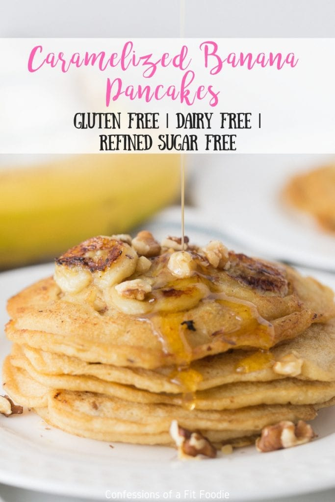 The BEST Gluten and Dairy Free Pancake I have ever had! Light and fluffy and the caramelized bananas take them over the top! My kiddos eat them without the bananas and just use chocolate chips. SO GOOD!