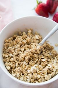 Bowl of Crumb Topping for Healthy Instant Pot Strawberry Rhubarb Crisp