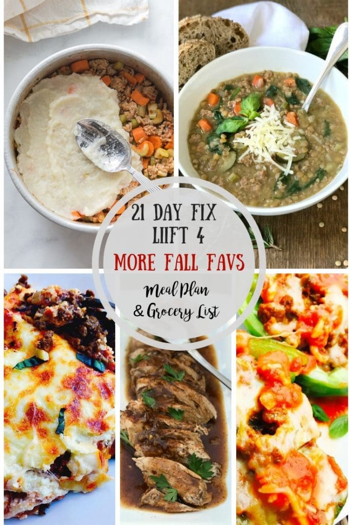 Looking for a Liift 4 or 21 Day Fix Meal Plan & Grocery List?  Look no further! This meal plan is full of healthy Fall comfort food meals that will keep you on track and will keep your whole family happy at dinner time. Enjoy! Liift 4| Liift 4 Meal Plan | 21 Day Fix | 21 Day FIx Meal Plan #confessionsofafitfoodie #liift4 #21dayfix #healthymealplan