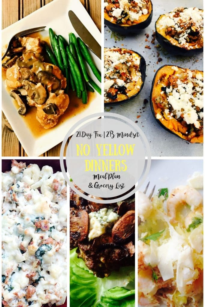 Collage of low carb dinners for the 21 Day Fix