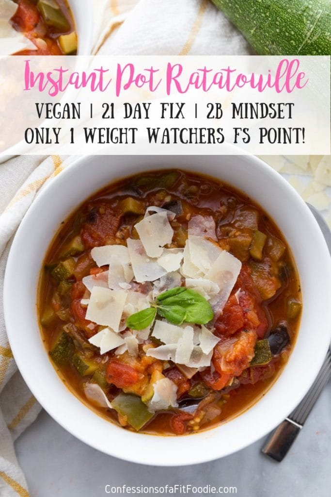 Put all that fresh farmstand produce to good use with this quick and hearty Instant Pot Ratatouille - the perfect low calorie, veggies-only dish for the 21 Day Fix and the 2B Mindset! Only 1 WW Freestyle point, too! Vegan/Vegetarian, too! #ultimateportionfix #2Bmindset #21dayfix