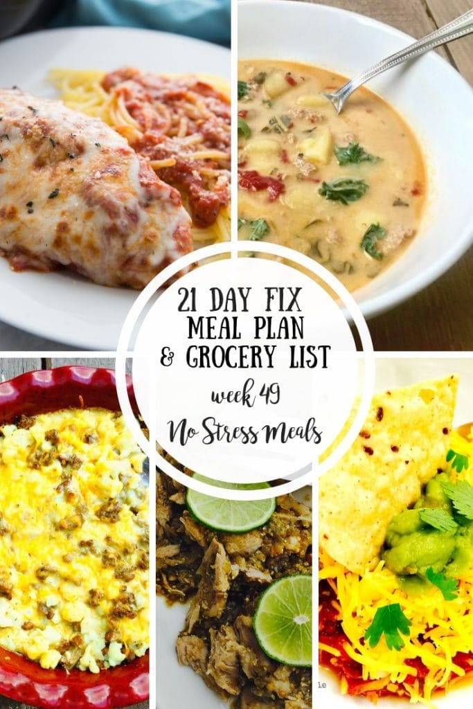 Have a busy week?  No problem!  This 21 Day Fix Meal Plan & Grocery List includes 5 simple, no stress meals that are healthy and delicious!