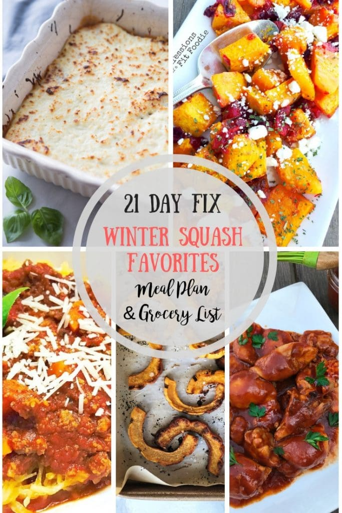 Looking for a 21 Day Fix Meal Plan with lots of veggie power? Try this one with all of my Winter Squash Favorites! And don't forget the handy printable grocery list at the bottom of the post!! 21 Day Fix Meal Plans | 21 Day Fix Spaghetti Squash | 21 Day Fix Acorn Squash | 21 Day Fix Butternit Squash | 21 Day Fix Grocery List #confessionsofafitfoodie #21dayfixmealplans #21dayfixsquashrecipes