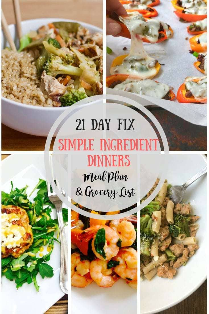 Meal Plan & Grocery List 8 Simple Ingredient Dinners  8 Day Fix