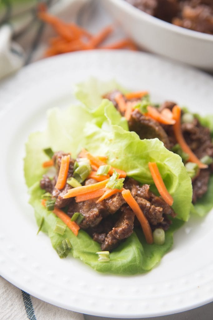 closeup of asian flavored lettuce wraps