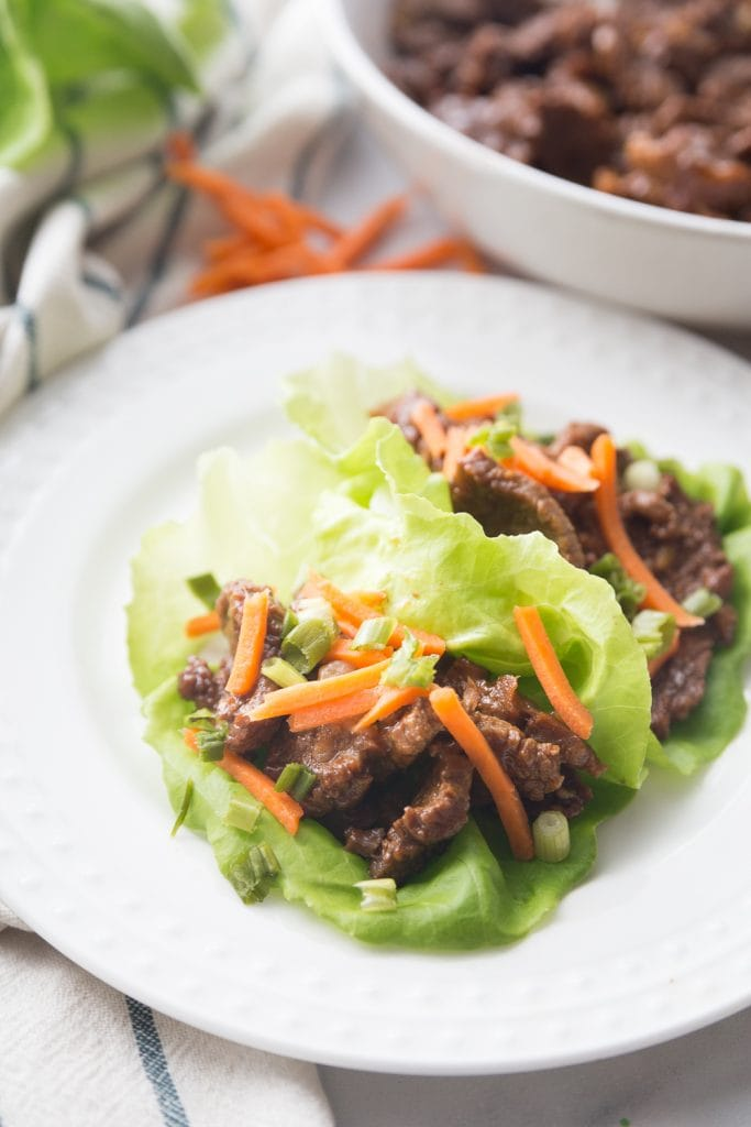 These Healthy Instant Pot Asian Steak Lettuce Wraps are tastier than take out and delicious over rice or with stir fried veggies, as well!  They are 21 Day Fix approved, and gluten-free, dairy-free, and paleo! #confessionsofafitfoodie #21dayfixrecipes #healthyinstantpot