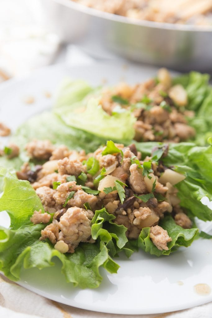 Ground chicken and veggie lettuce wraps on a white plate, from the side angle- a pan in the background