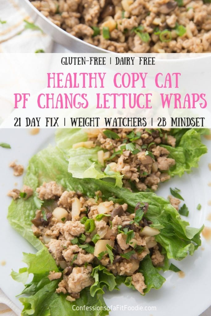 "Ground chicken and veggie Lettuce wraps laying on a white plate with a pan of filling in the background- text overlay ""Healthy copy cat PF Changs Lettuce Wraps, Gluten free 