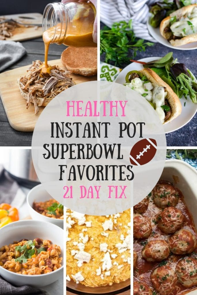 Need some Gameday Instant Pot Inspiration?  These Heathy Instant Pot Superbowl Favorites are perfect for feeding a crowd this Superbowl Sunday!   Great for the 21 Day Fix!