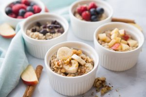 Instant Pot Steel Cut Oatmeal with fruit toppings