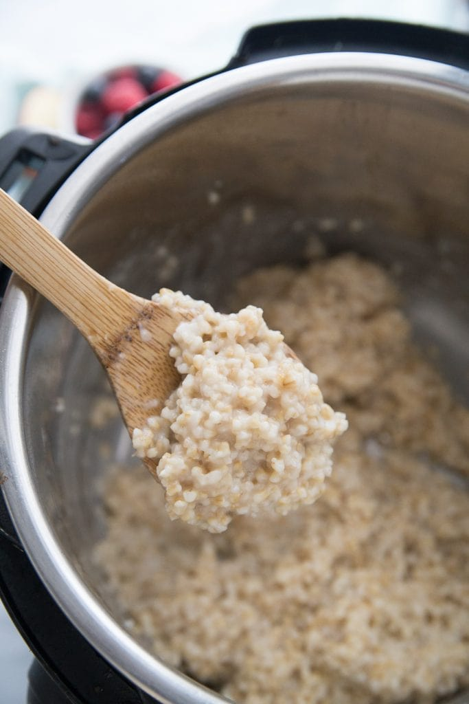 "These ""Overnight"" Instant Pot Steel Cut Oats using the Delay Start Timer are a weekday morning game changer!  Just add oats and water to your pot, set your delay start timer, and go to sleep. When you wake up, breakfast is ready! Instant Pot Breakfast 