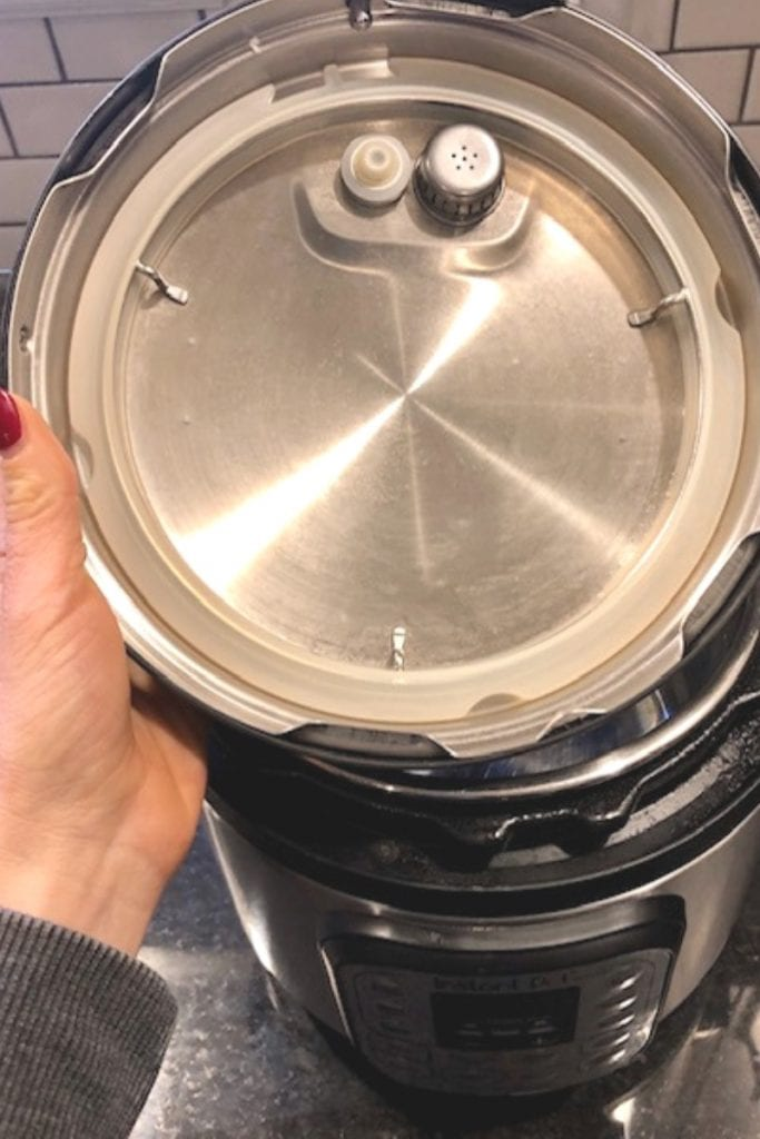 The inside of an instant pot lid, showing the sealing ring
