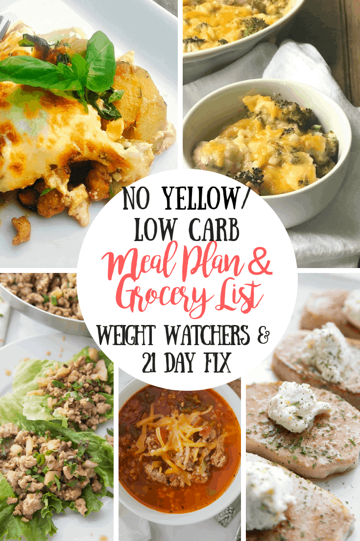 21 Day Fix Meal Plan Grocery List 55 No Yellow Dinners Low