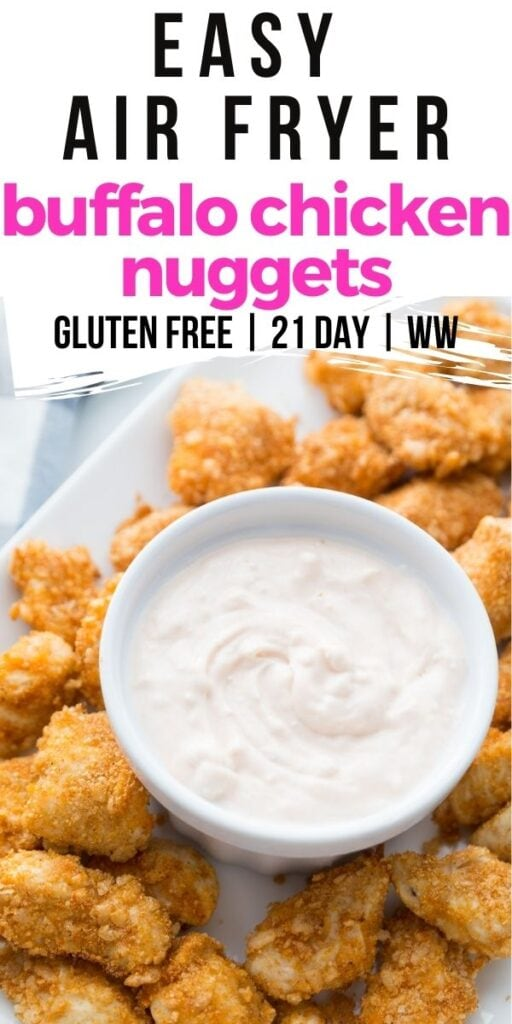 Photo Collage with text overlay Easy Airfryer Buffalo Chicken Nuggets