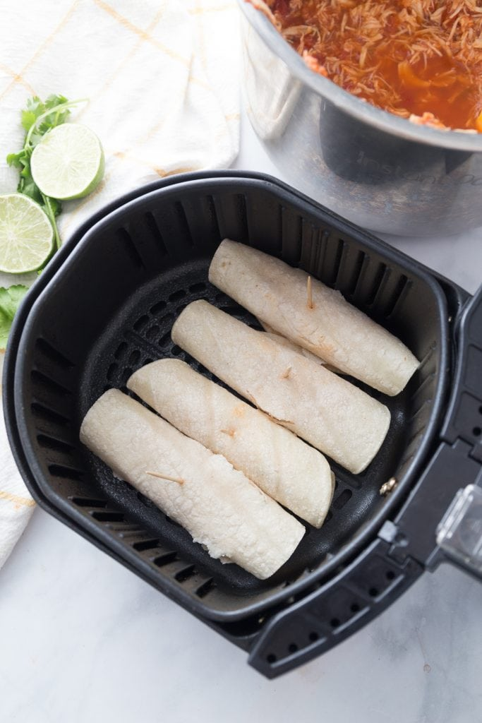 Air Fryer Chicken Taquitos before cooking
