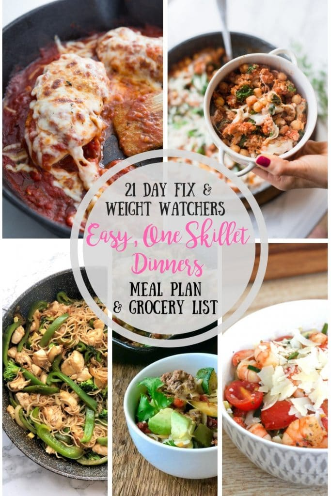 This 21 Day Fix Meal Plan is your answer to easy, one skillet meals for those busy nights!  Weight Watchers Freestyle Points included!