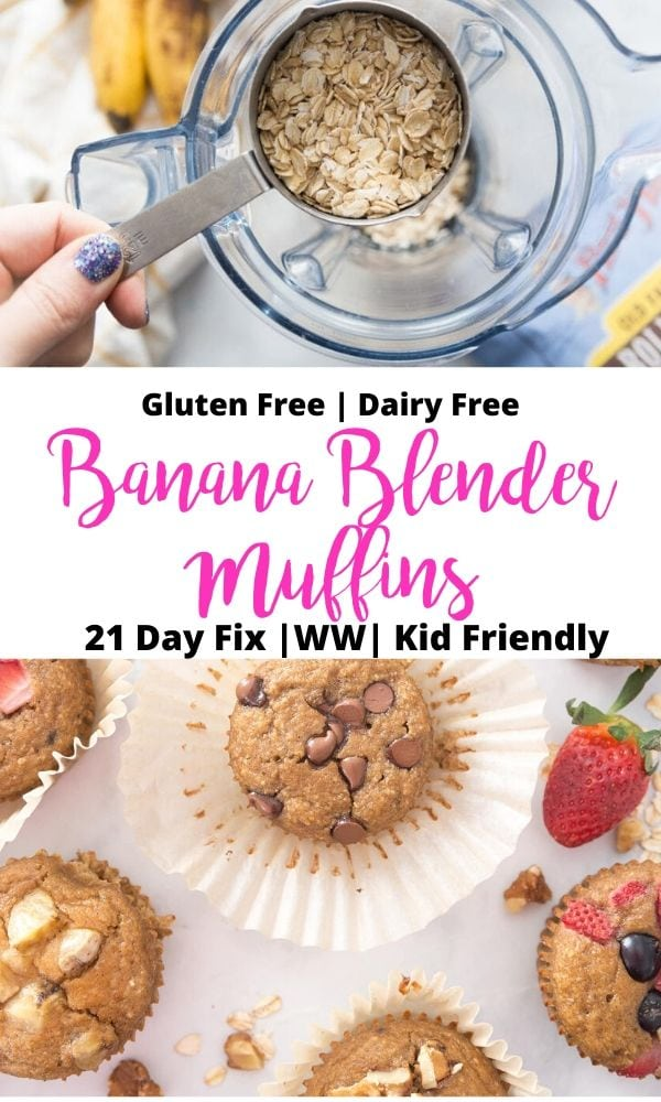 Photo Collage of Banana Blender Muffins with text overlay for Pinterest