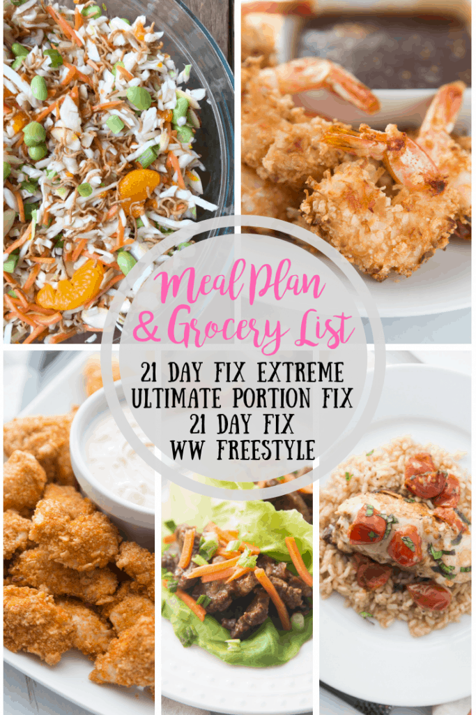 This meal plan contains 5 days of 21 Day Fix Extreme approved dinners complete with printable grocery list. Good for 21 Day Fix and Ultimate Portion Fix as well as Weight Watchers Freestyle!Confessions of a Fit Foodie   Meal Plan and Grocery List   Weekly Dinners #21dayfix #21dfx #weightwatchers #fixapproved #weeklymealplan