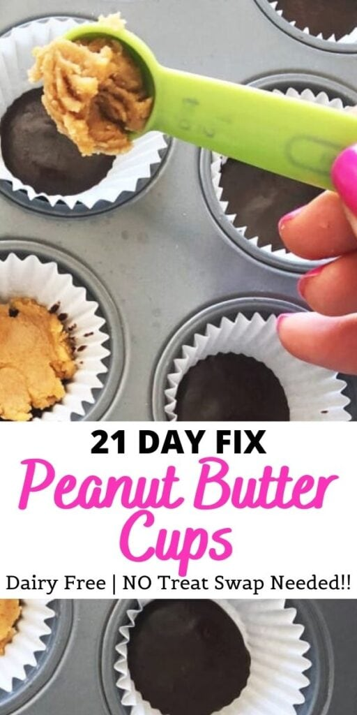 A mini muffin tin being filled with peanut butter filling on top of chocolate layer. Text overlay- 21 Day Fix - Only 1 1/2 tsp per cup!   Healthy Reese's Peanut Butter Cups   Confessions of a Fit Foodie