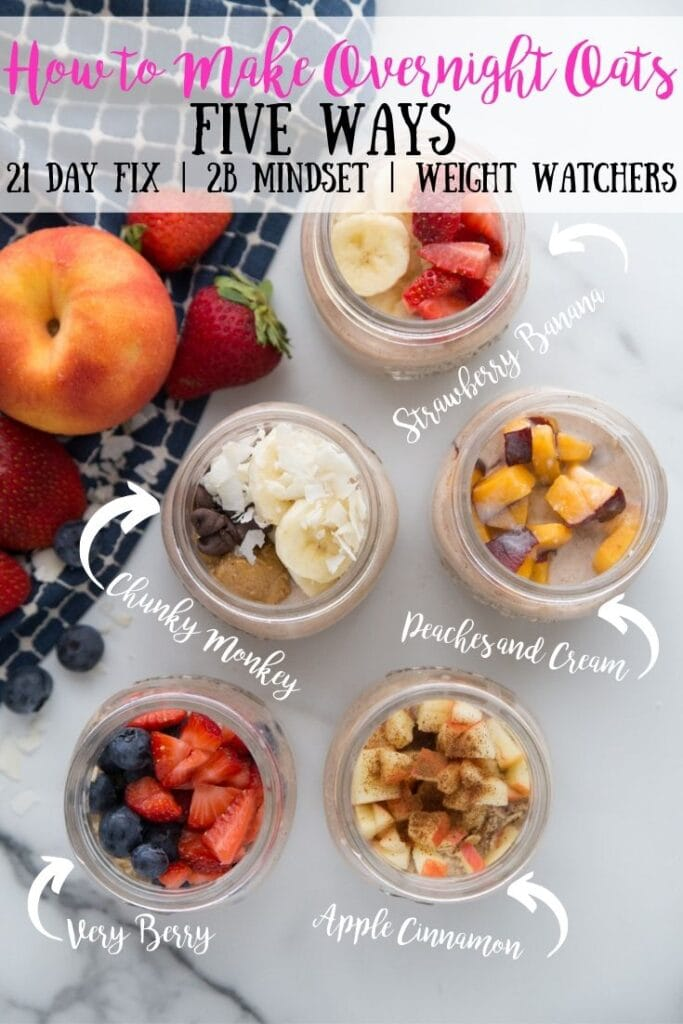 Overhead shot of overnight oats labeled with different flavors- strawberry banana, chunky monkey, peaches and cream, very berry, and apple cinnamon- with the text overlay How to Make Overnight Oats Five Ways, 21 Day Fix | 2B Mindset | Weight Watchers