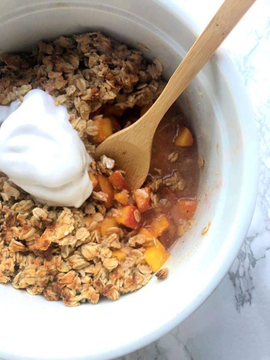 Healthy Instant Pot Peach Crisp Gluten Free Dairy Free