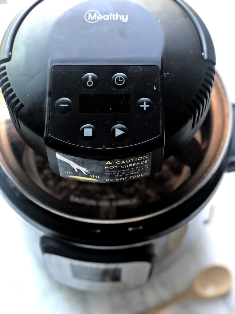 A close up of a Mealthy Crisp lid on an Instant Pot 6 quart - this amazing machine turns your Instant Pot into an Air Fryer