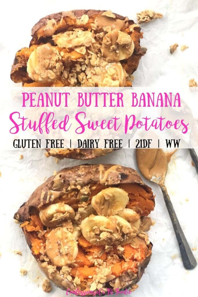 A Pinterest image of Peanut Butter Banana Stuffed Sweet Potatoes