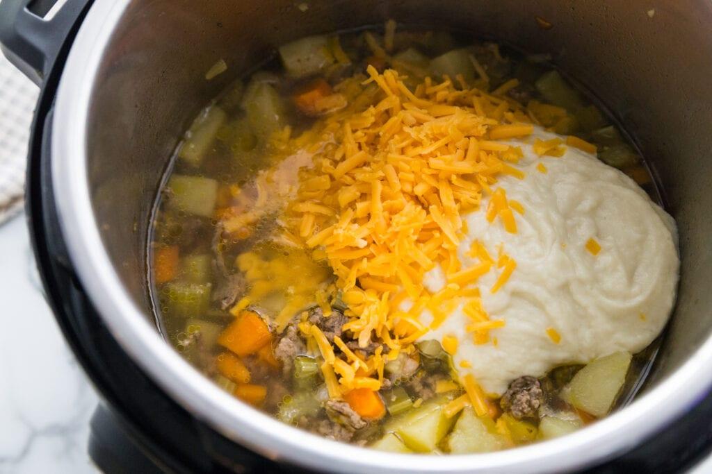 Instant Pot Cheeseburger Soup with hidden cauliflower