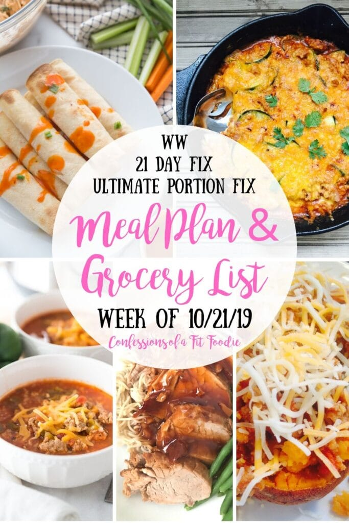 A Pinterest Collage of Healthy Meal Plan Recipes from the Blog Confessions of a Fit Foodie
