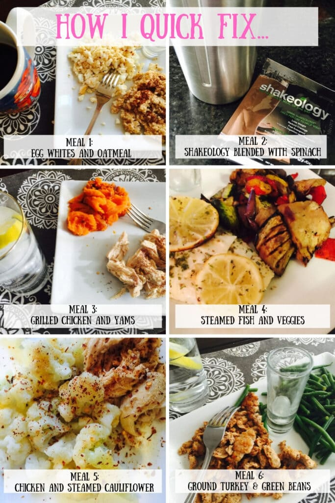 A collage of 3 Day Quick Fix Meals for the 21 Day Fix