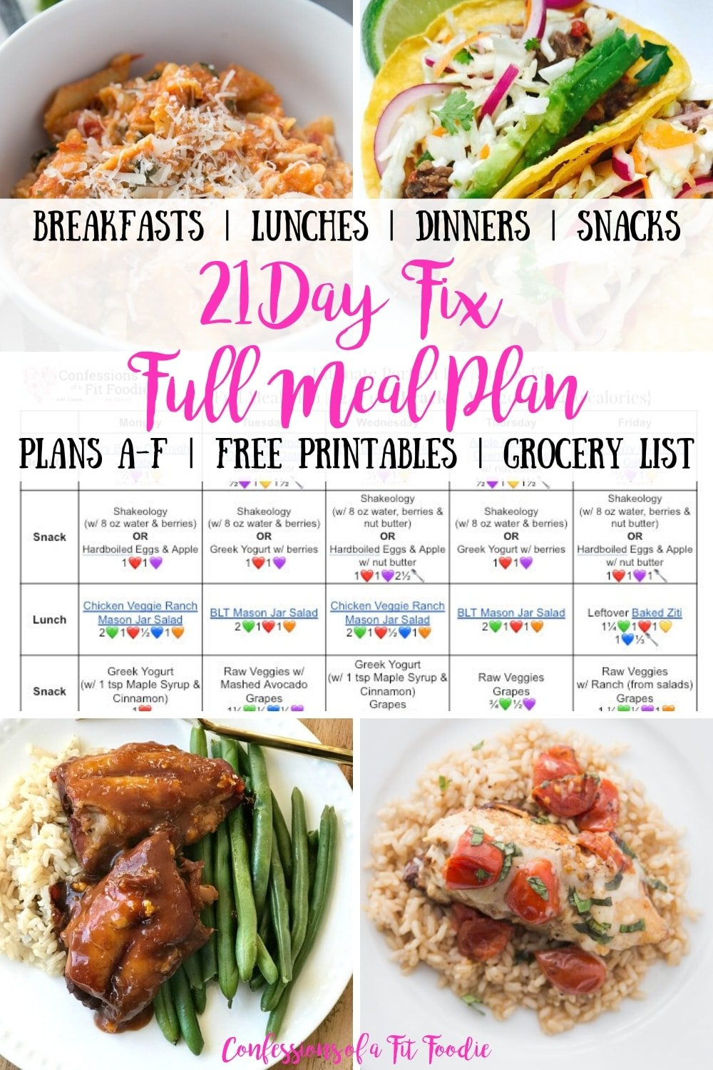 21 Day Fix Meal Plan Vol 3 All Meals All Brackets Free Printables Confessions Of A Fit Foodie