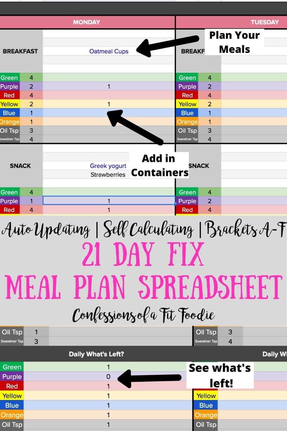 21 Day Fix Meal Plan Spreadsheet Self