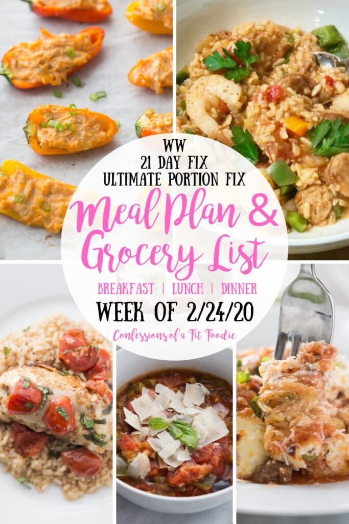 Food photo collage- WW | 21 Day Fix | Ultimate Portion Fix | Meal Plan & Grocery List | Breakfast | Lunch | Dinner | Week of 2/24/20 | Confessions of a Fit Foodie