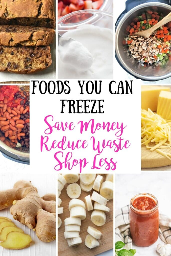 Grid food photo collage, with the text overlay- Foods You Can Freeze | Save Money | Reduce Waste | Shop Less