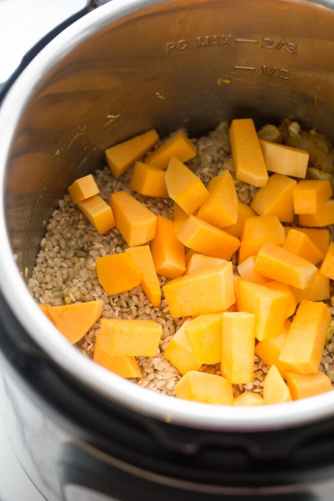 Overhead photo of an Instant Pot full of uncooked rice and diced butternut squash