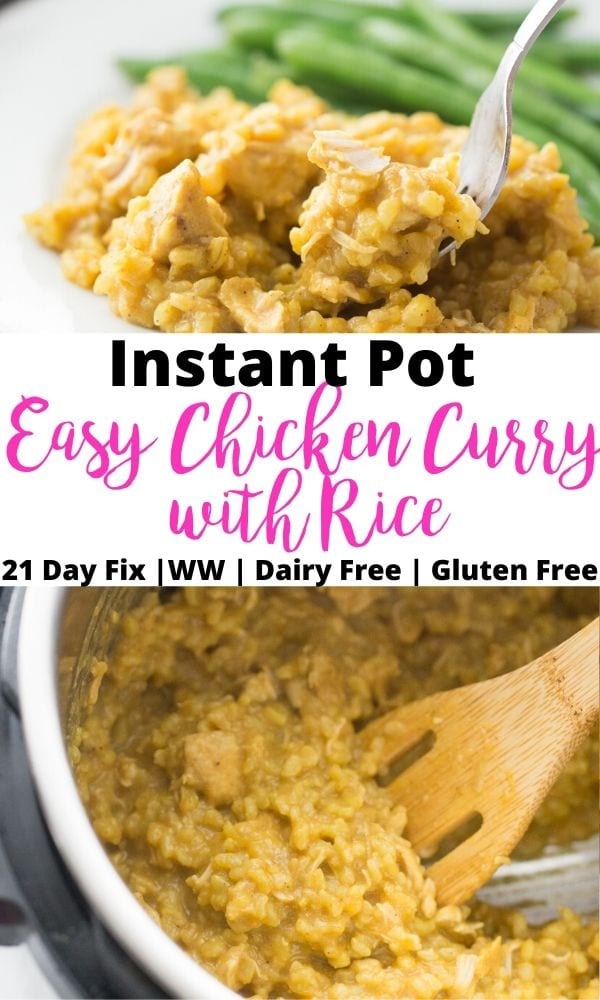 Pinterest image with text overlay for Instant Pot Easy Chicken Curry with Rice